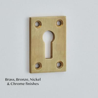 Plain Oblong Escutcheon in Light Antique brass