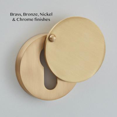 Round Covered Euro Profile Escutcheon in Satin Brass
