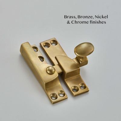 Narrow Straight Arm Sash Fastener Aged Brass