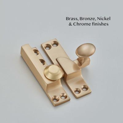 Oval Straight Arm Sash Fastener Satin Brass UNL
