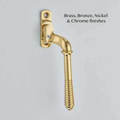 Narrow Reeded Espagnolette Fastener Polished Brass UNL