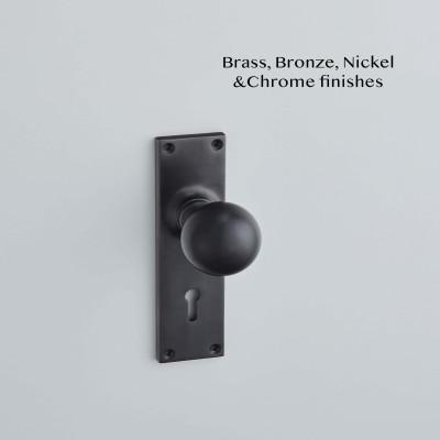 Ball Knob on a Lock Backplate Matt Black Bronze