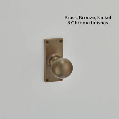 Ball Knob on a Short Latch Backplate Antique Brass
