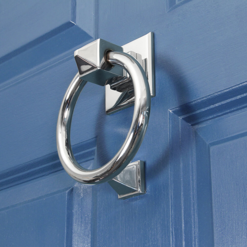 Polished Chrome Ring Door Knocker From The Anvil