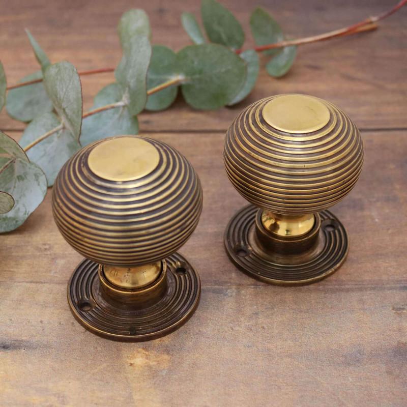 Brass Beehive Door Knobs | Victorian Period Beehive Door Knobs