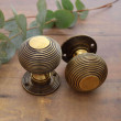 Beehive door knobs in brass
