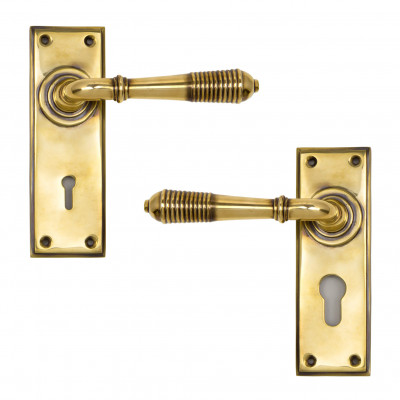 Aged Brass Reeded Lever Lock Handles