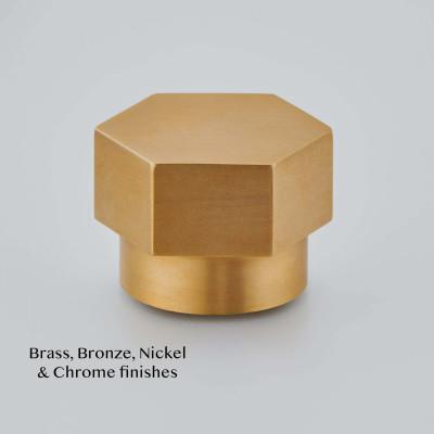 Hex Cabinet Knob in Smoked Brass