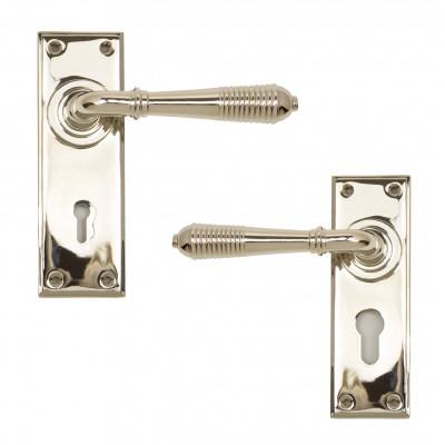 Polished Nickel Reeded Lever Lock Handles