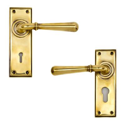 Newbury Lever Lock Handles Aged Brass