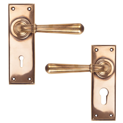 Newbury Lever Lock Handles Polished Bronze