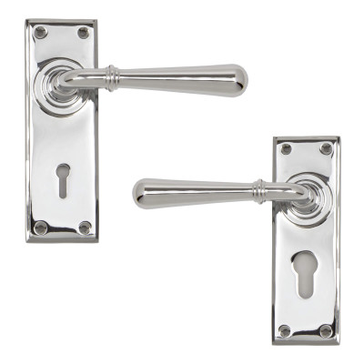 Newbury Lever Lock Handles Polished Chrome
