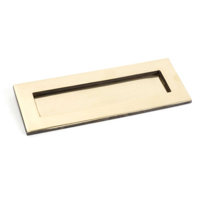 Period Aged Brass Letter Plate Small