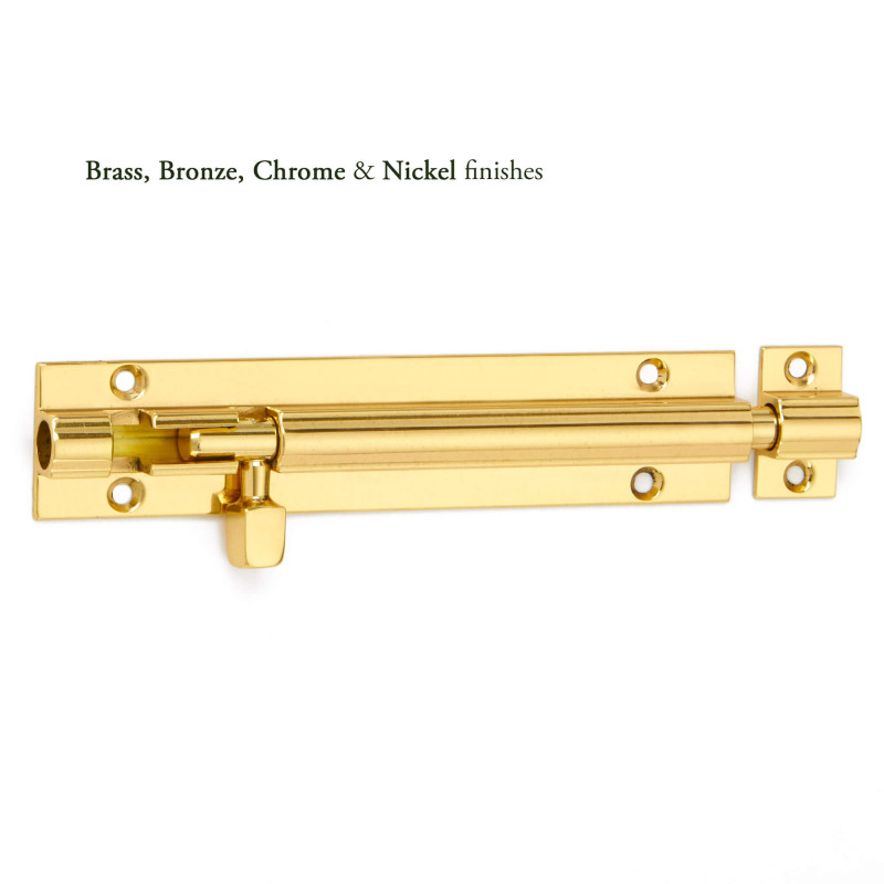 Chrome or Satin Straight Necked Door Bolts Barrel Door Bolt Slide Action Brass
