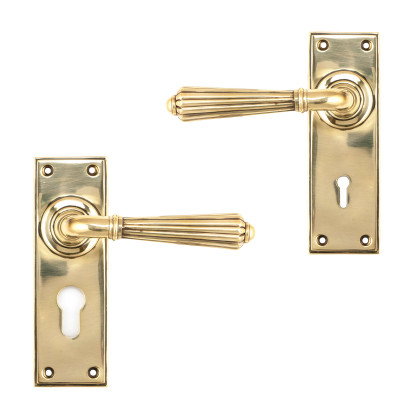 Aged Brass Hinton Lever Lock Handles