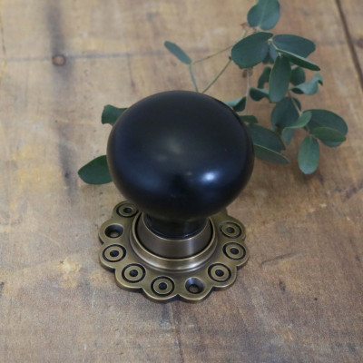 Real Ebony Bun Knob Old English Brass Flower Rose
