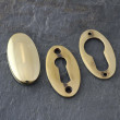 Aged Brass Period Oval Escutcheons