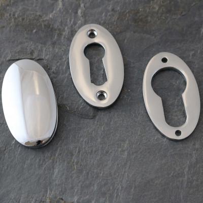 Polished Chrome Period Oval Escutcheons