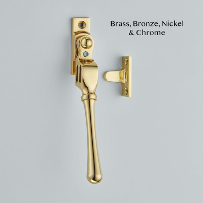 Bulb End Lockable Double Night Vent Fastener Polished Brass