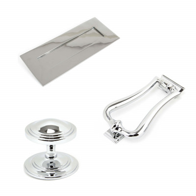 Polished Chrome Deco Front Door Set
