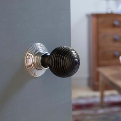 Ebonised Beehive Door Knobs - Polished Nickel
