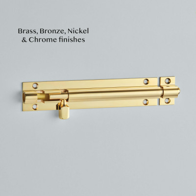 Straight Barrel Bolt Polished Brass UNL