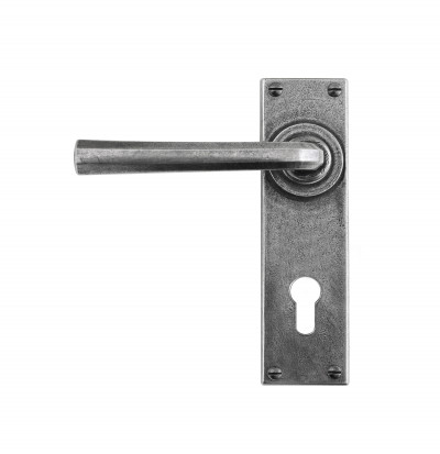 Tunstall Lever on Backplate Euro 72 Pewter