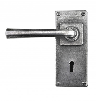 Tunstall Lever on Lock Backplate Pewter