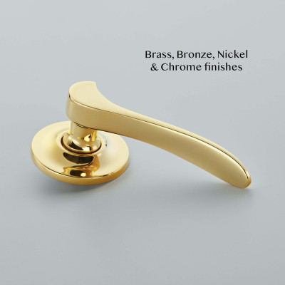 Codsall Lever Covered Rose Polished Brass