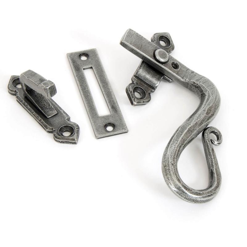 Pewter Shepherds Crook Fastener Rh Locking: Hand Forged Pewter Locking Shepherds Crook Fastener
