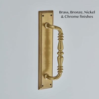 Ornate Pull Handle on Raised Edge Plate Aged Brass