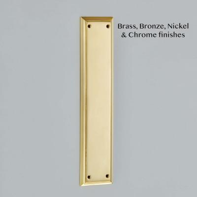 Raised Edge Cast Finger Plate Polished Brass