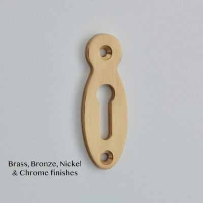 Pear Drop open Escutcheon in Satin Brass