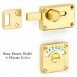 Brass bathroom indicator bolt lock