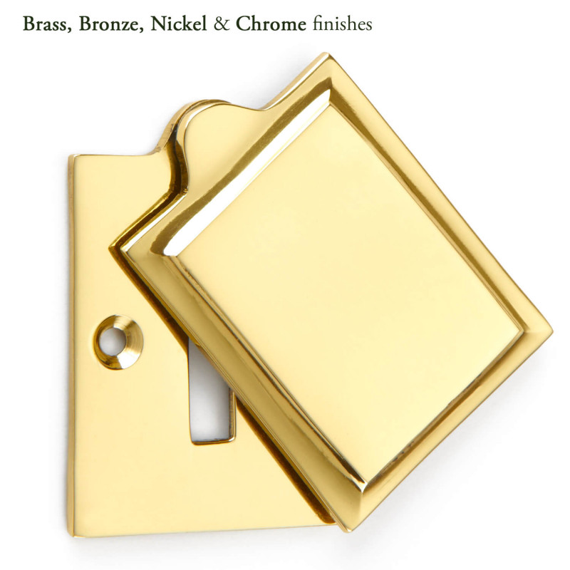Keyhole Cover Plate Covered Escutcheon with Polished Brass Finish
