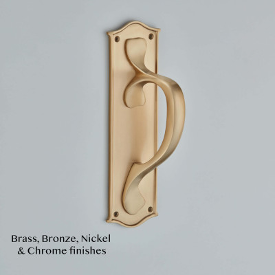 Shaped Pull Handle on Ribbon Edge Smoked Brass