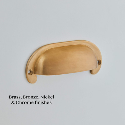 Shaped Cast Drawer Pull Smoked Brass