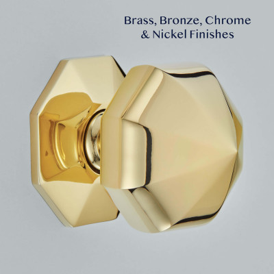 Polished Brass Octagonal Centre Pull