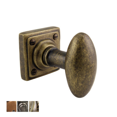 Bronze or Pewter Oval Mortice Knobs on a Square Rose