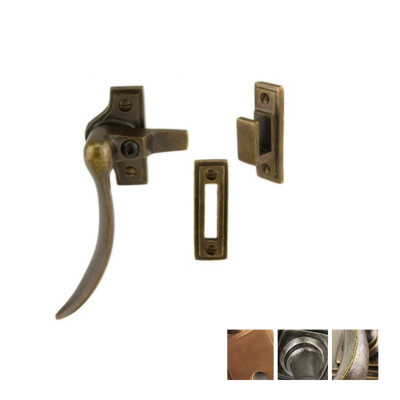 Curved lockable window fastener