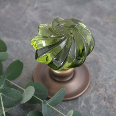 Peridot Glass Whirl Door Knob on Antique Brass