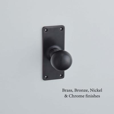 Ball Knob on a School Board Backplate Matt Black Bronze