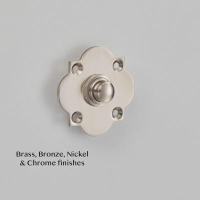 Quatrefoil Bell Push Pearl Nickel