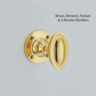 Round Oval Mortice Knob Polished brass UNL