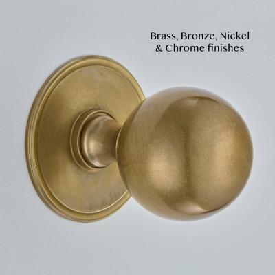 Ball Centre Door Knob Round Rose Aged Brass