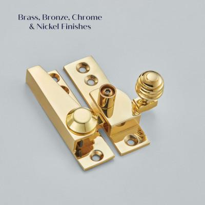 Brass Reeded Lockable Sash Fastener