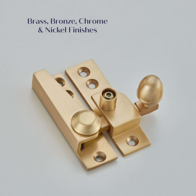 Lockable Acorn Sash Fastener Satin Brass