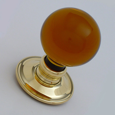 Amber glass door knob