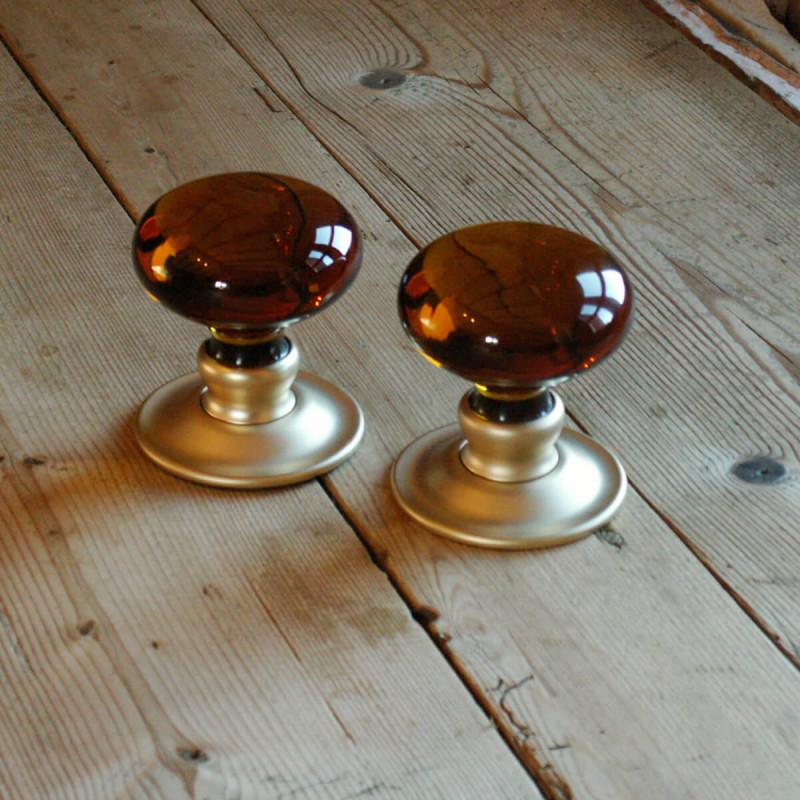 Handmade Glass Amber Smooth Bun Door Knobs | The Period Ironmonger