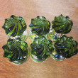 Handmade Glass Peridot Whirl Door Knobs